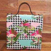 Stylish Flamingo Print Handbag
