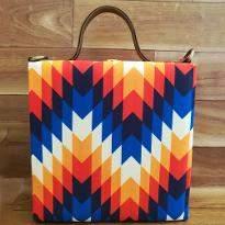 MultiZigzag Print Handbag