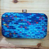 Blue Bricks Print Clutch