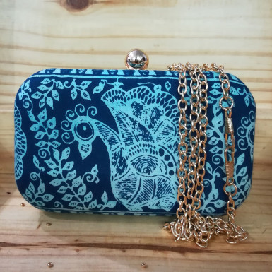 Buy Blue Peacock Clutch