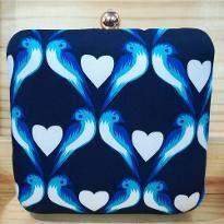 Blue Heart Print Clutch