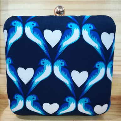 Buy Blue Heart Print Clutch