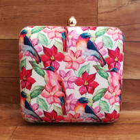 Birds and Flowers Print Clutch