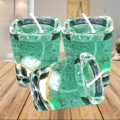 Buy Shiny Green Glass Candles