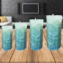 Elegant Blue and White Candles