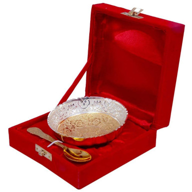 Buy Gold & Silver Plated Brass Traditional Bowl