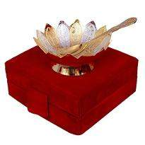 Gold & Silver Plated Brass Lotus Flower Shaped Bowl