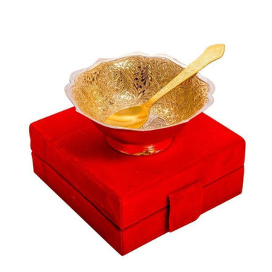 Buy Silver & Gold Plated Brass New Shaped Peacock Carving Bowl