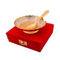 Silver & Gold Plated Brass Bowl with Spoon