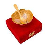 Silver & Gold Plated Brass Bowl Flower Carving