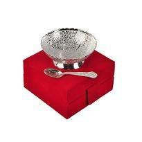 Silver Plated Brass Bowl Floral Print