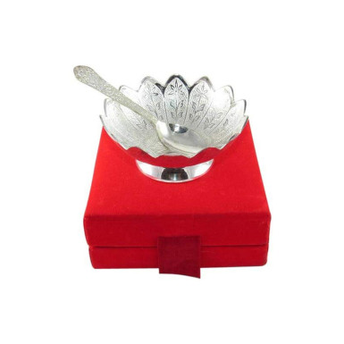 Buy Silver Plated Brass Bowl Floral Design