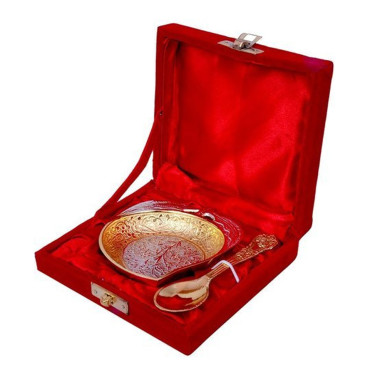 Buy Silver & Gold Plated Mango Shaped Bowl
