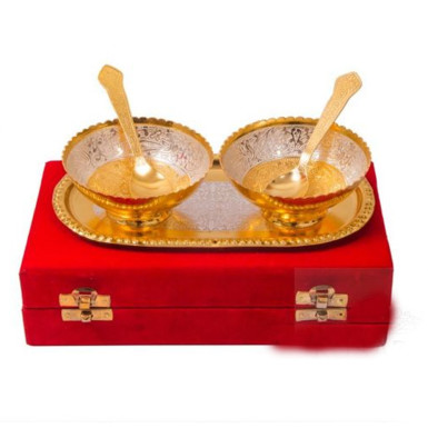 Buy Silver & Gold Plated Brass Bowl Set of 5 Pcs