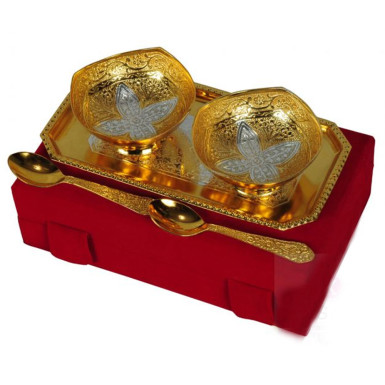 Buy Silver & Gold Plated Brass Bowl Set