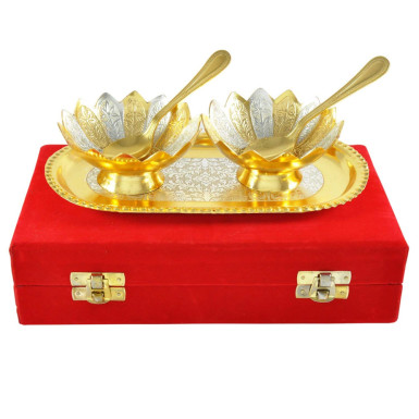 Buy Silver & Gold Plated Brass Bowls