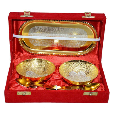 Buy Silver & Gold Plated Bowl Set of 5 Pcs
