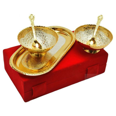 Buy Silver & Gold Plated Set