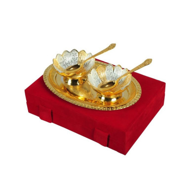 Buy Gold & Silver Plated Brass Bowl Set of 5 Pcs