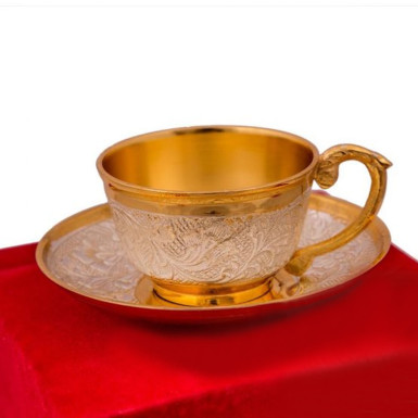 Buy Silver & Gold Plated Cup & Saucer Set