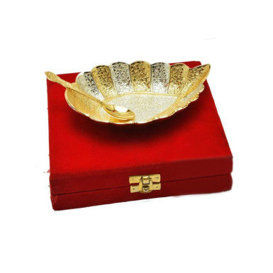 Buy Silver & gold Plated Brass Cashew Shaped Platter
