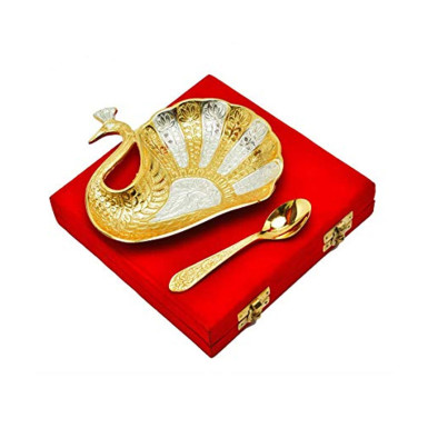 Buy Silver & Gold Plated Brass Peacock Platter