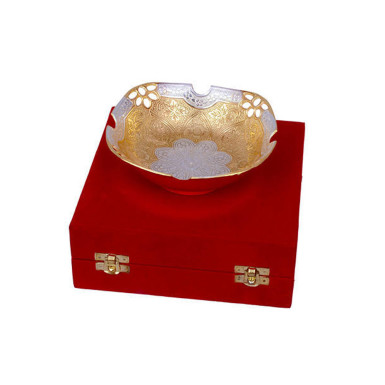Buy Silver & Gold Plated Fruit Bowl
