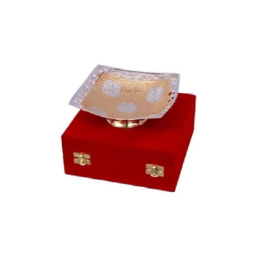 Buy Silver & Gold Plated Brass Sqaure Shape Bowl