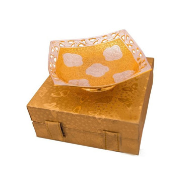 Buy Silver & Gold Plated Brass Bowl Square Shape