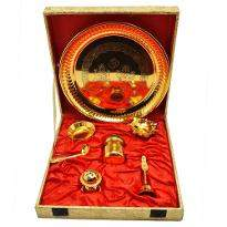 Gold Plated Steel Pooja Thali