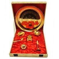 Gold Plated Steel Pooja Thali