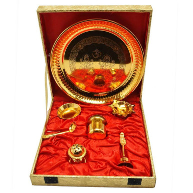 Buy Gold Plated Steel Pooja Thali