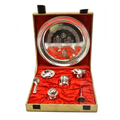 Buy Silver Plated Steel Pooja Thali