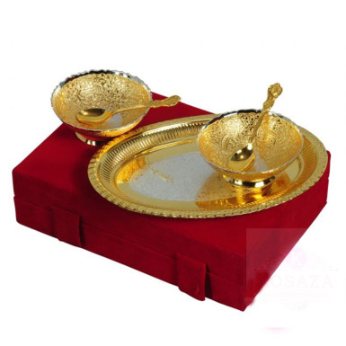 Buy Silver & Gold Plated Brass Bowl Set with Tray