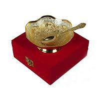 Lovely Silver & Gold Plated Brass Bowl with Spoon