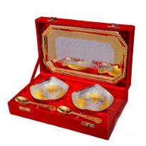 Classic Silver & Gold Plated Brass Bowl Set 5 Pcs