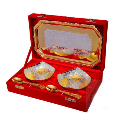 Buy Classic Silver & Gold Plated Brass Bowl Set 5 Pcs