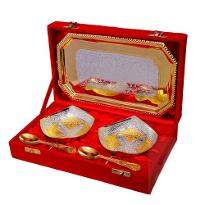 Silver & Gold Plated Brass Bowl Set 5 Pcs