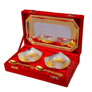 Buy Silver & Gold Plated Brass Bowl Set 5 Pcs