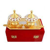 Silver & Gold Plated Brass Mouthfreshner Set of 5 Pcs