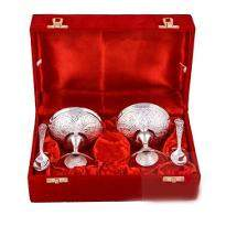 Silver Plated Brass Ice Cream Bowl Set of 4 Pcs