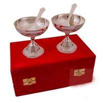 Silver Plated Brass Ice Cream Bowl Set 4 Pcs
