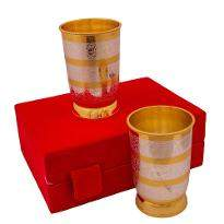 Silver & Gold Plated Regular Water Glass set of 2 Pcs