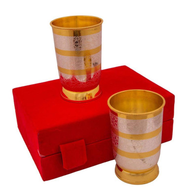 Buy Silver & Gold Plated Regular Water Glass set of 2 Pcs