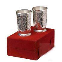 Silver Plated Brass Glass Set 2 Pcs