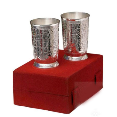 Buy Silver Plated Brass Glass Set 2 Pcs