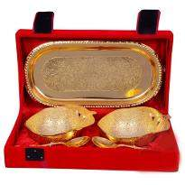 Gold Plated Apple Shaped Brass Bowl Set of 5 Pcs