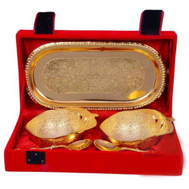 Buy Gold Plated Apple Shaped Brass Bowl Set of 5 Pcs