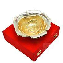 Silver & Gold Plated Brass Sheet Rose Flower Bowl