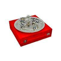 Silver plated Steel Pooja Thali With Brass Bell